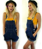 Denim overalls short outfit 91