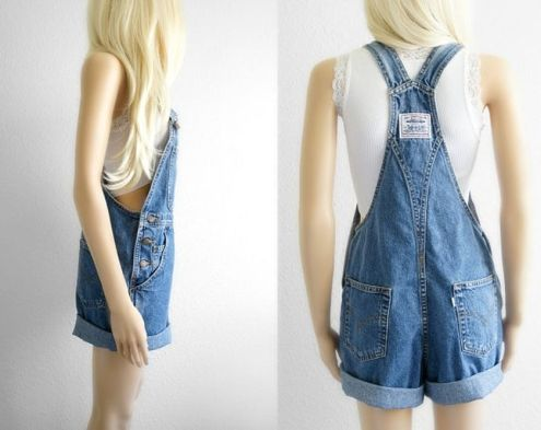 Denim overalls short outfit 95