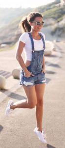 Denim overalls short outfit 97