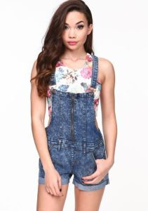 Denim overalls short outfit 98