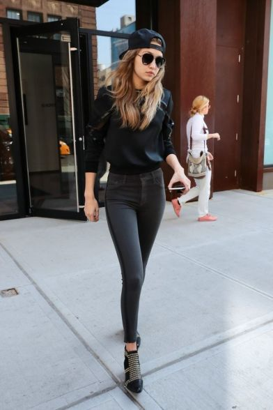 Gigi hadid sneakers outfit on the street 22