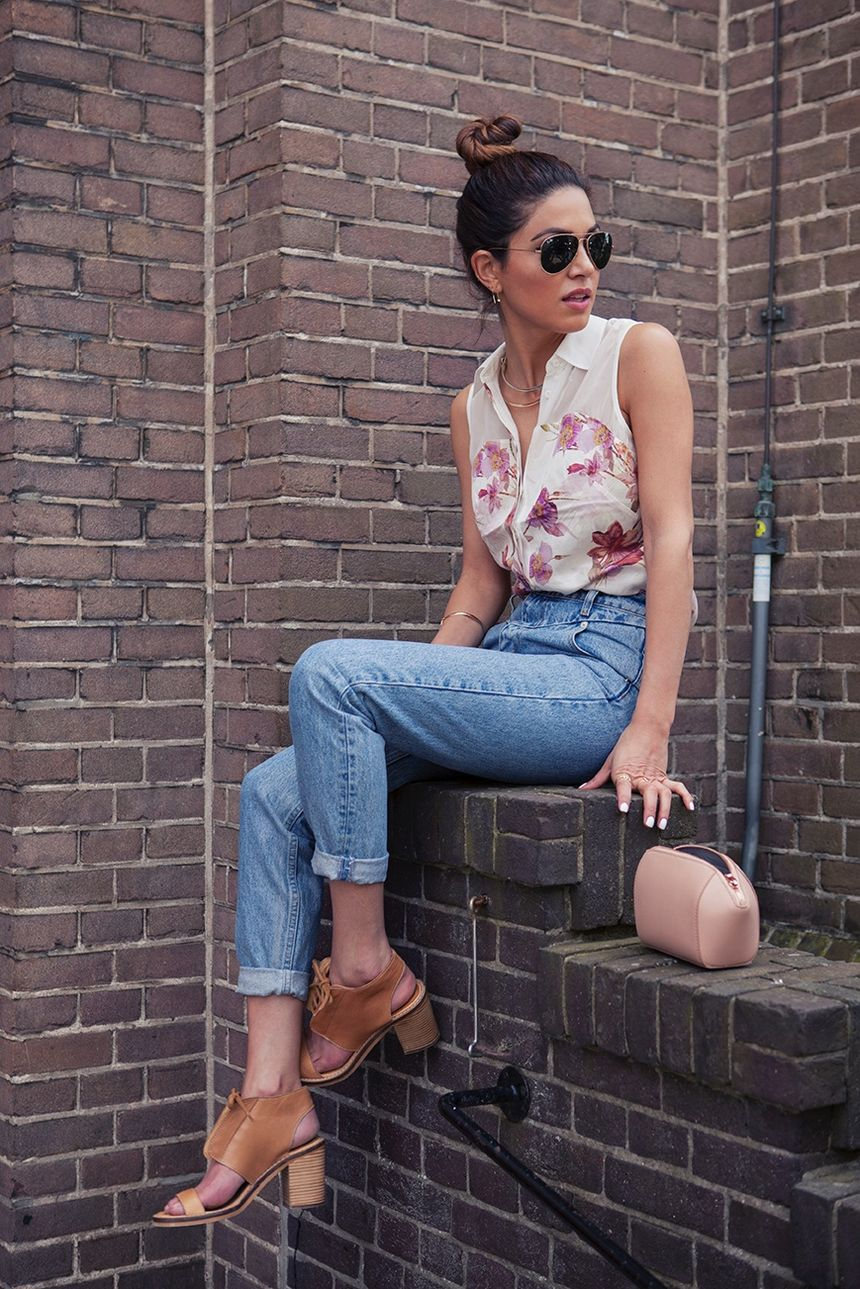 High waisted jeans outfit style 111