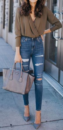 High waisted jeans outfit style 58