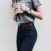 High waisted jeans outfit style 92