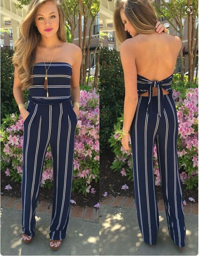 Jumpsuits strapless outfit 65