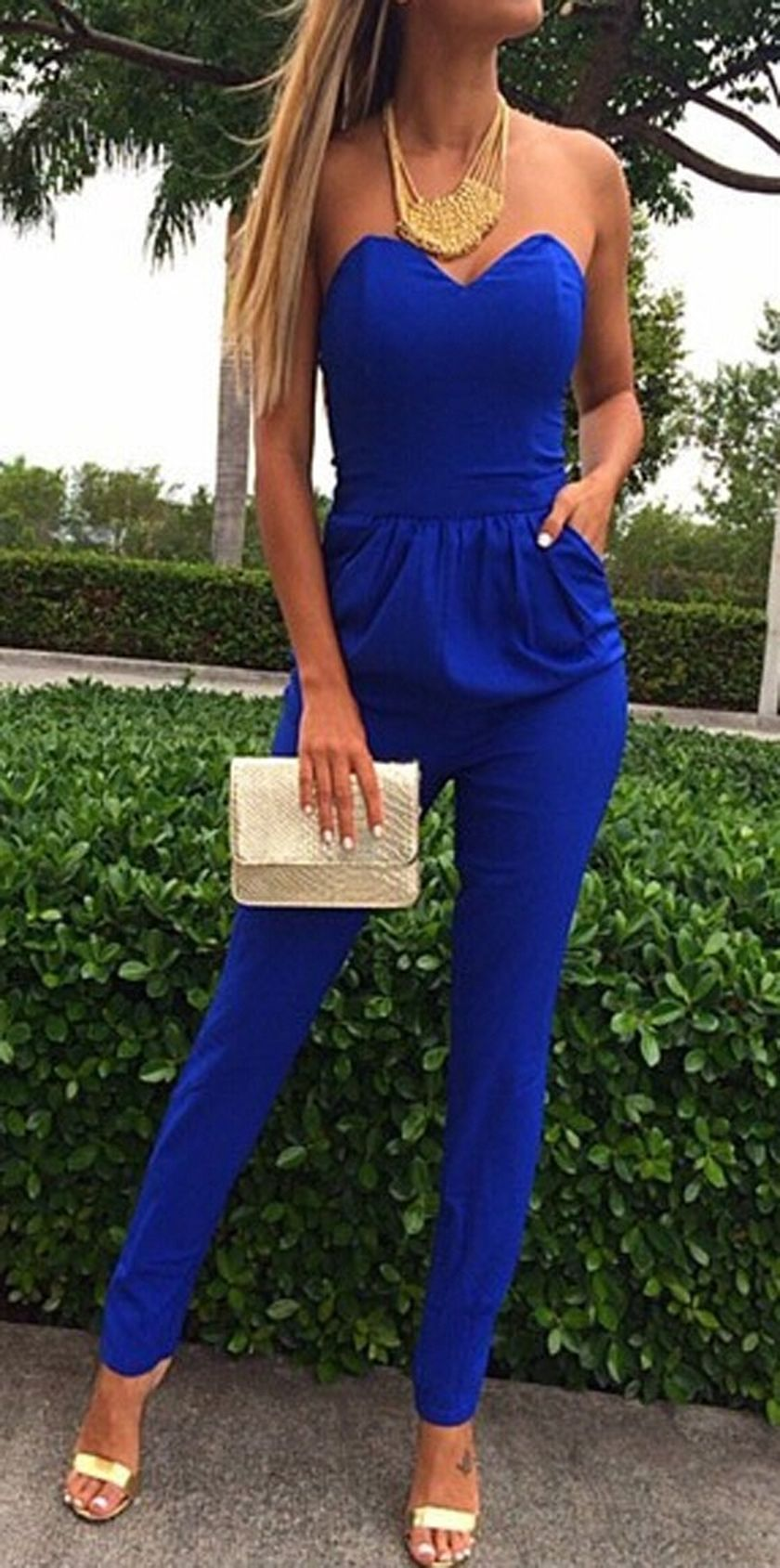 Jumpsuits strapless outfit 71