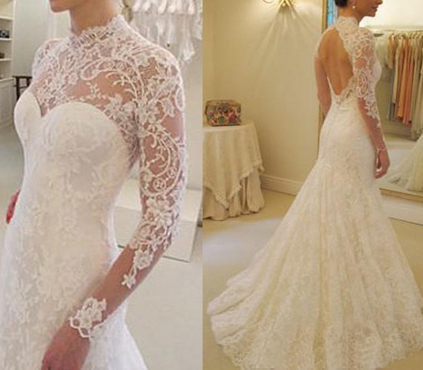 Open back vintage lace wedding dress 42