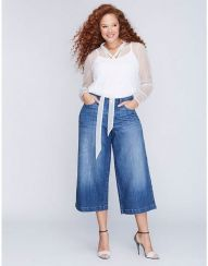 Wide leg denim plus size 43