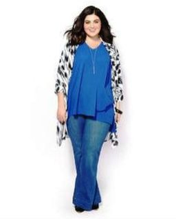Wide leg denim plus size 46