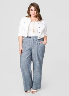 Wide leg denim plus size 47