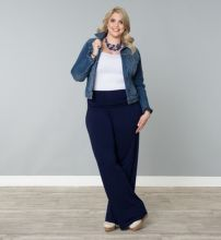 Wide leg denim plus size 50