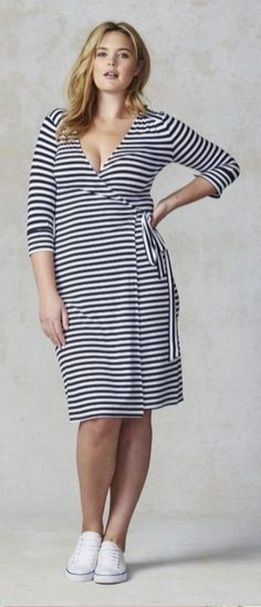 Amazing plus size striped dress outfits ideas 52