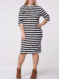 Amazing plus size striped dress outfits ideas 59