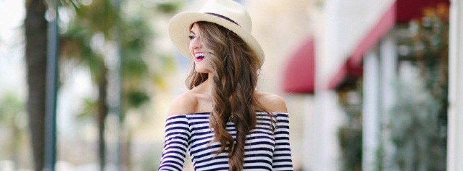 Black white striped casual midi dress outfit featured
