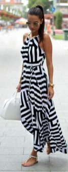 Casual black white striped midi dress outfit 24