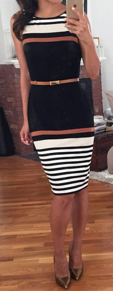 Casual black white striped midi dress outfit 28