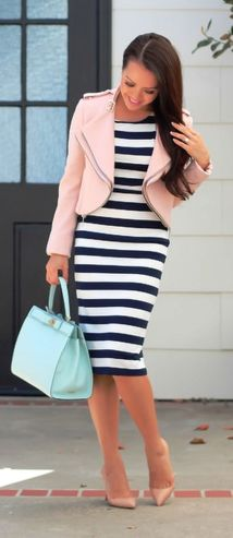 Casual black white striped midi dress outfit 36