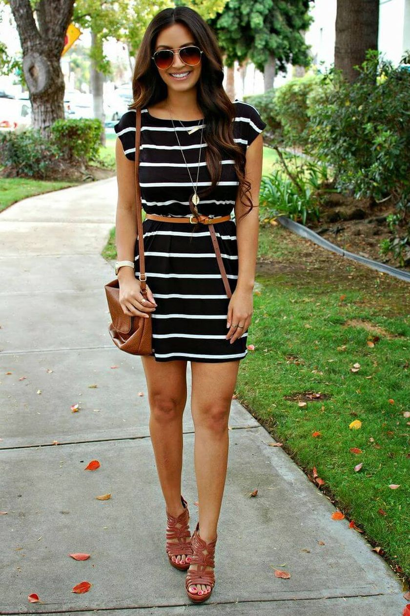 Casual black white striped midi dress outfit 41 - Fashion Best 708276954