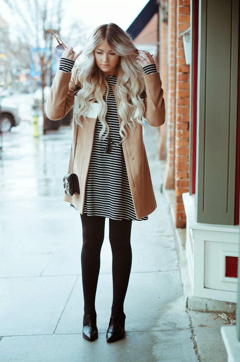 Casual black white striped midi dress outfit 56