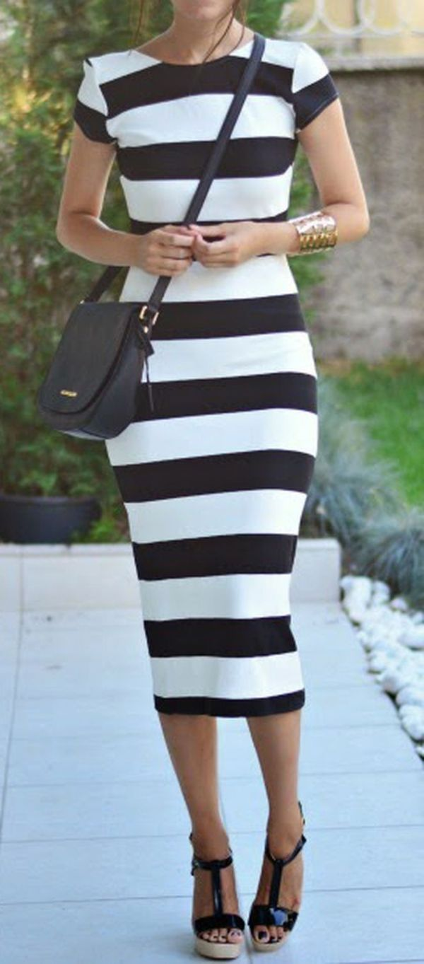 Fabulous Casual Black White Striped Midi Dress Outfit