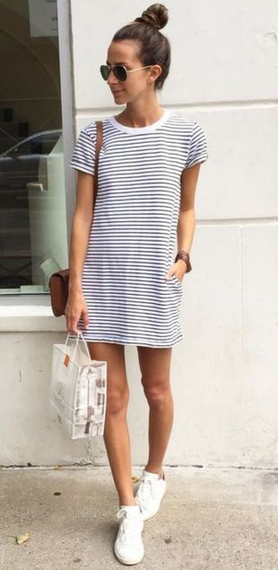 Casual black white striped midi dress outfit 64