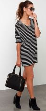 Casual black white striped midi dress outfit 66