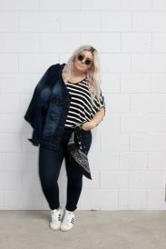 Fabulous plus size striped shirt outfits 45