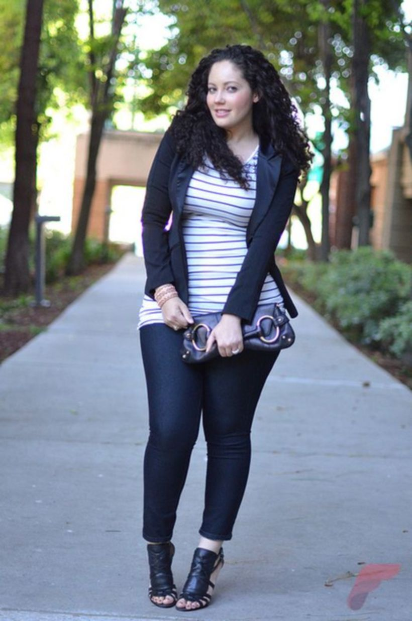 Fabulous plus size striped shirt outfits 58