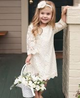 Gorgeous flower girl lace dresses ideas 1