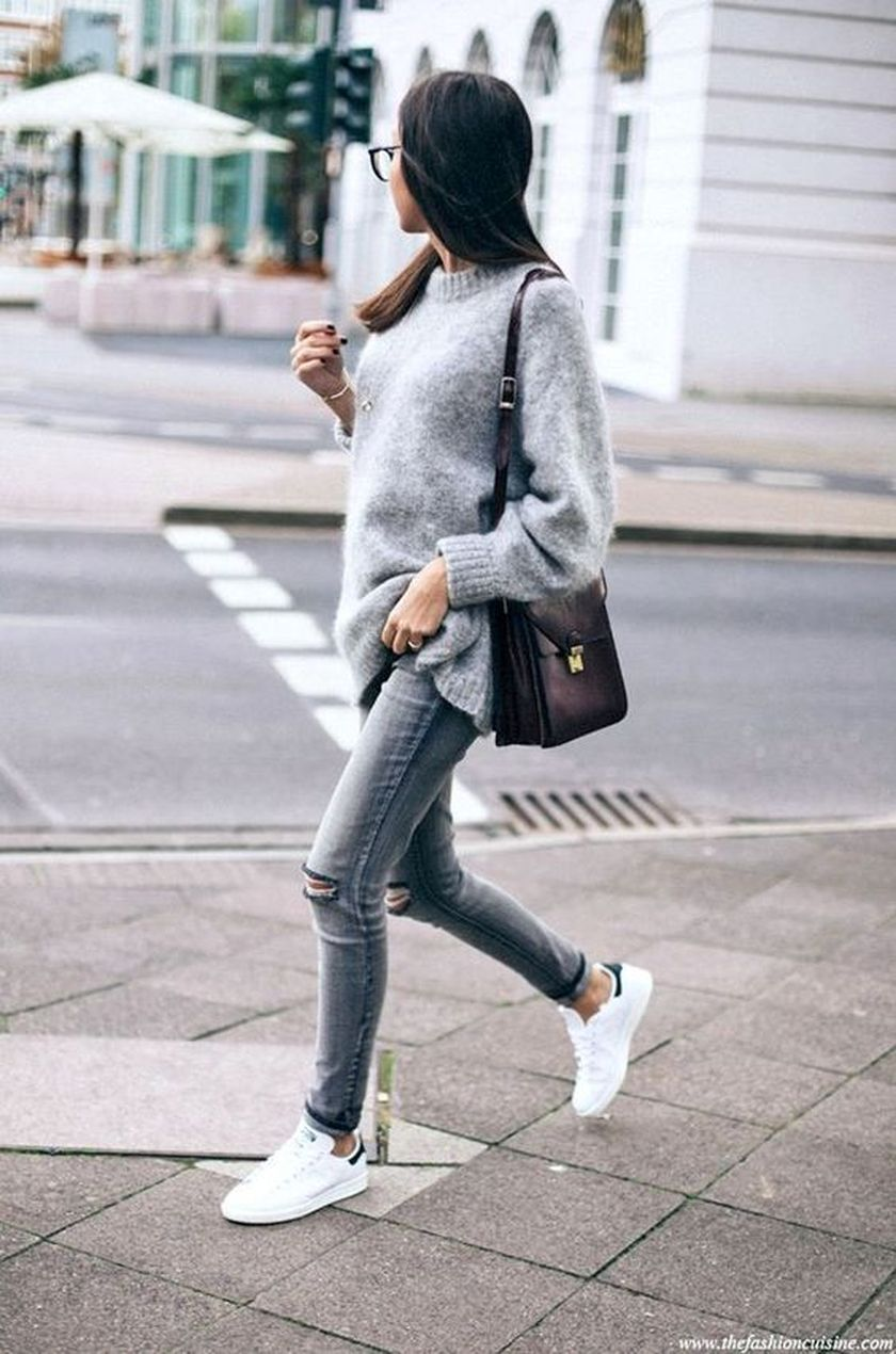 How to wear white sneaker for spring outfits 138