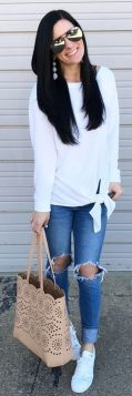 How to wear white sneaker for spring outfits 152