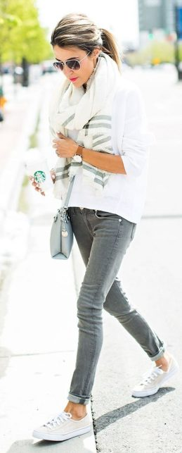 How to wear white sneaker for spring outfits 64