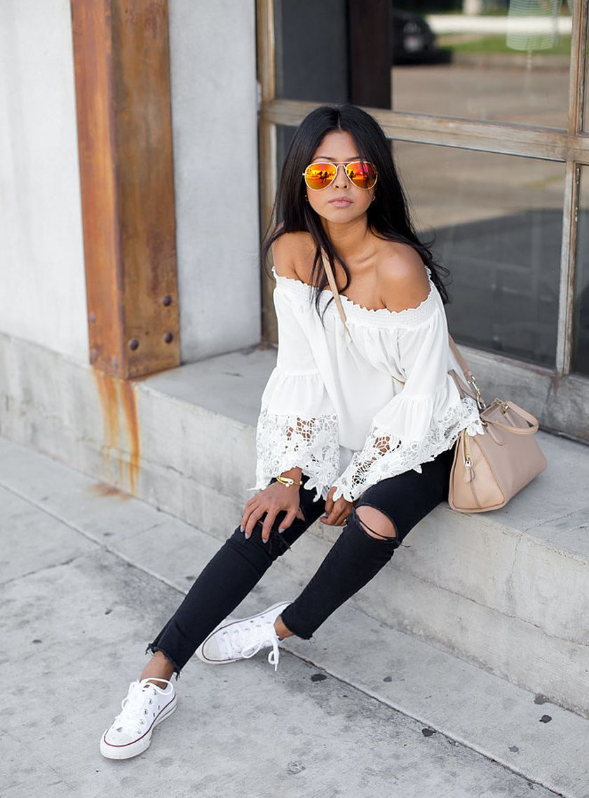 How to wear white sneaker for spring outfits 92