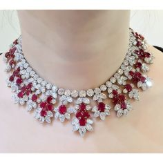 Magnificent burmese ruby and diamond necklace 10