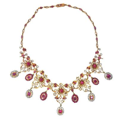 Magnificent burmese ruby and diamond necklace 13
