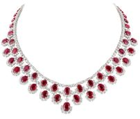Magnificent burmese ruby and diamond necklace 32