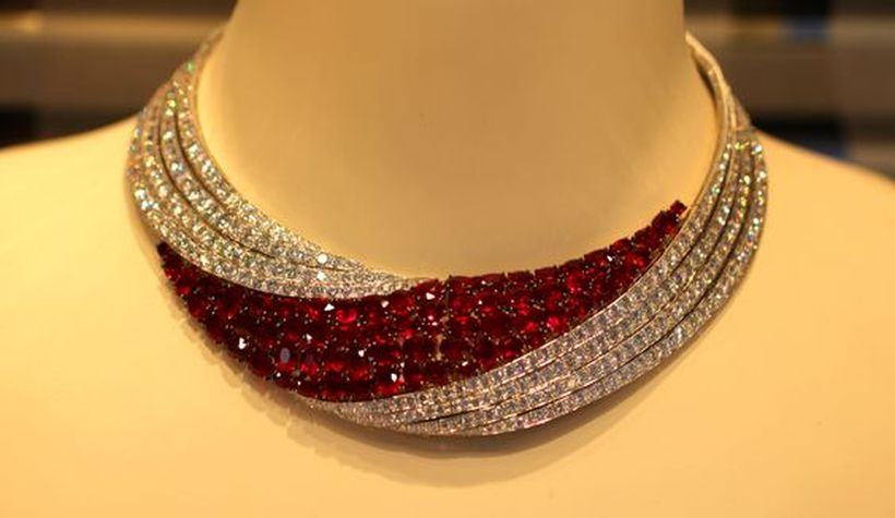 Magnificent burmese ruby and diamond necklace 7