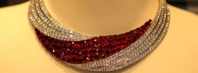 Magnificent ruby and diamond necklace featured