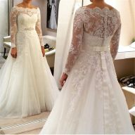 Plus size wedding dresses with sleeves 36
