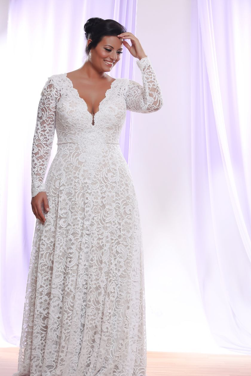 Plus size wedding dresses with sleeves 35