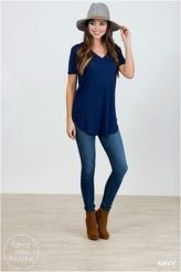 Sexy soft v neck tees women outfit style 11