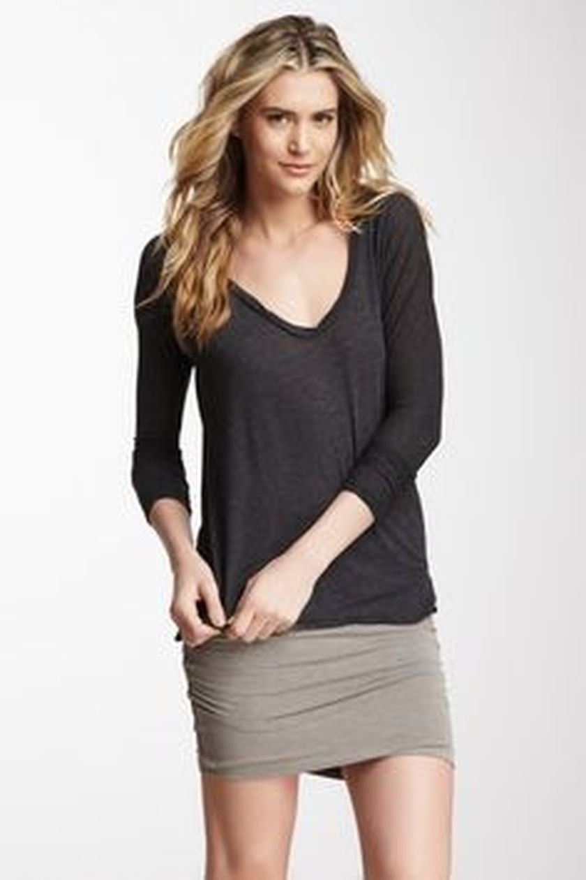 Sexy soft v neck tees women outfit style 3