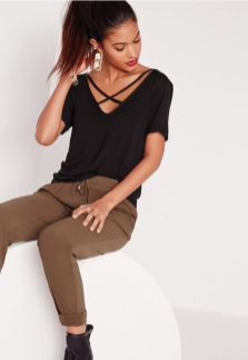 Sexy soft v neck tees women outfit style 40