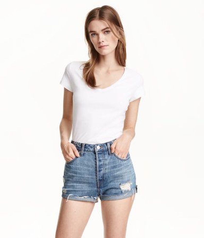 Sexy soft v neck tees women outfit style 42