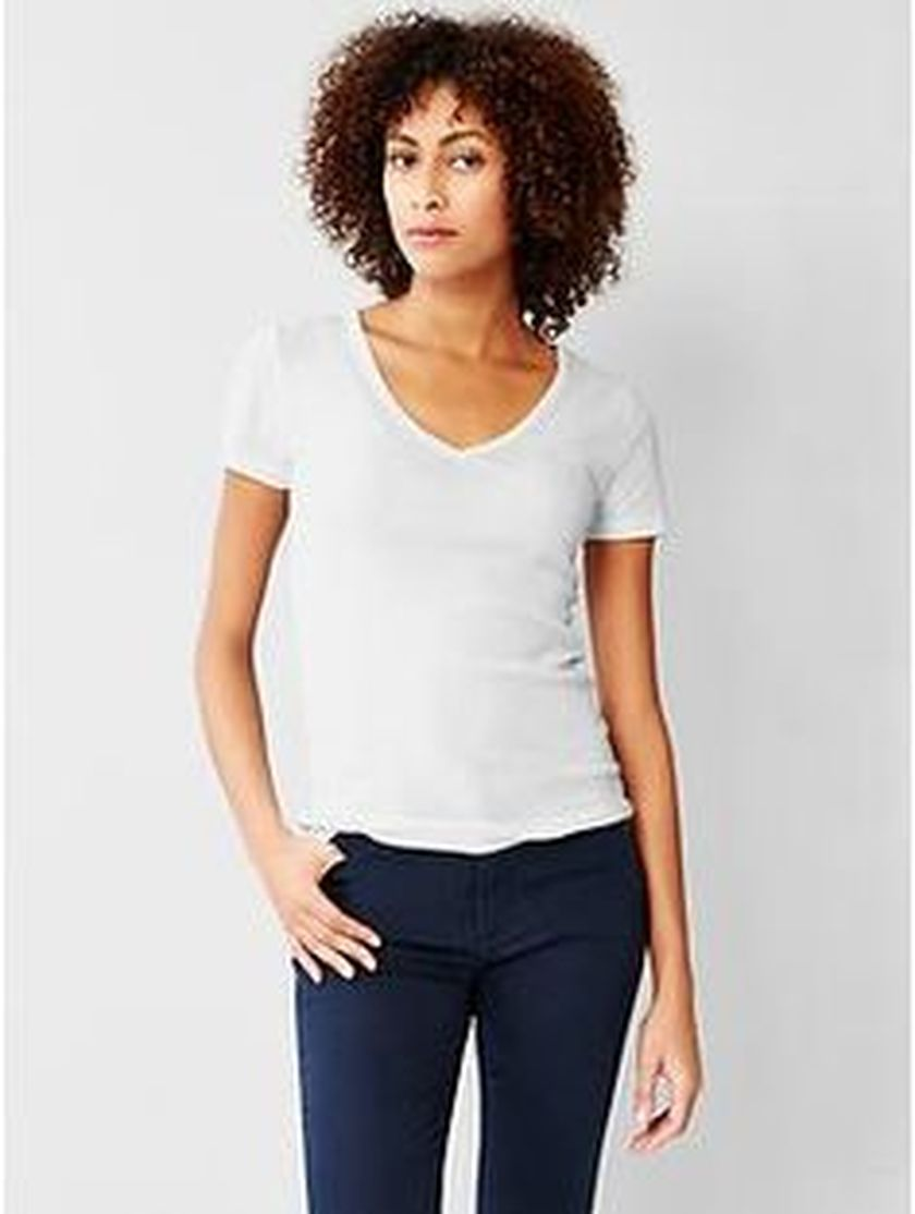 Sexy soft v neck tees women outfit style 65