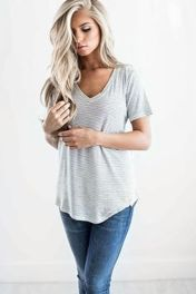 Sexy soft v neck tees women outfit style 7