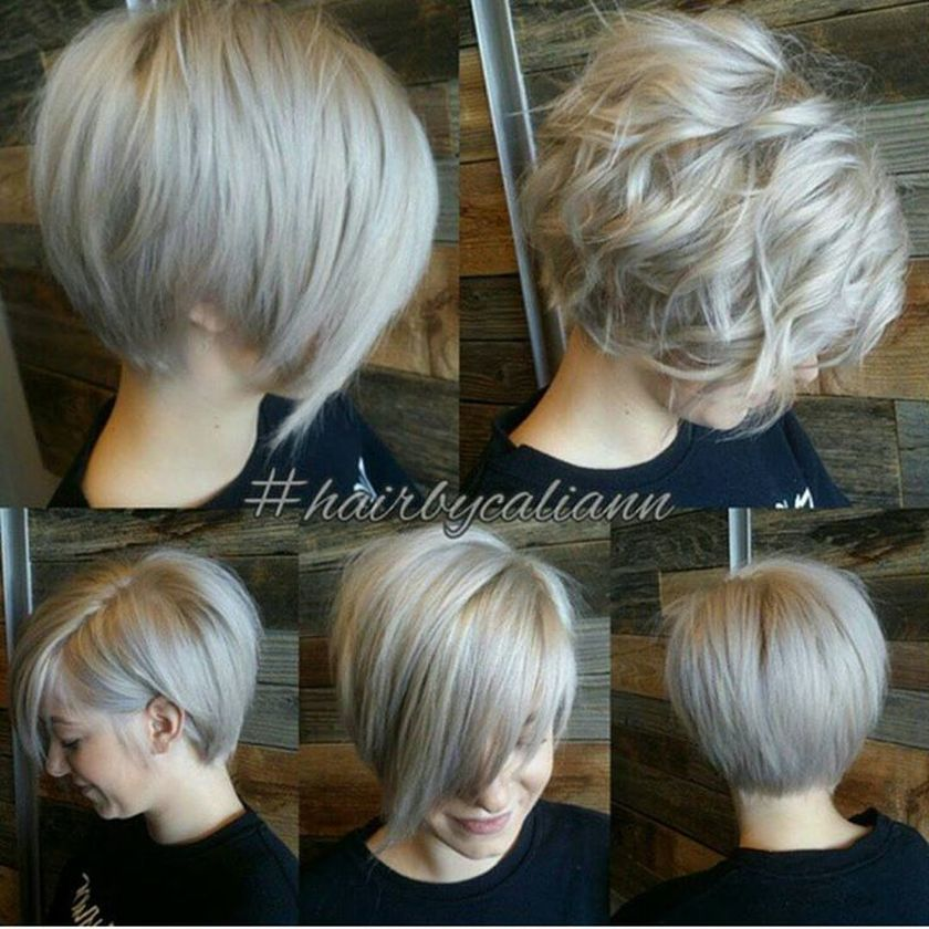 Short asymmetrical bobs hairstyle haircut 61