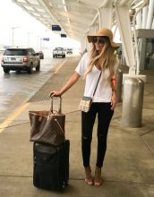 Summer airplane outfits travel style 50