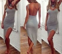 Summer casual backless dresses outfit style 23