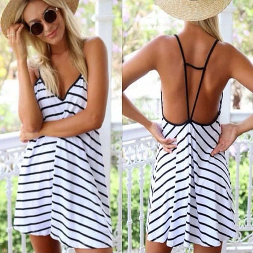 Summer casual backless dresses outfit style 42
